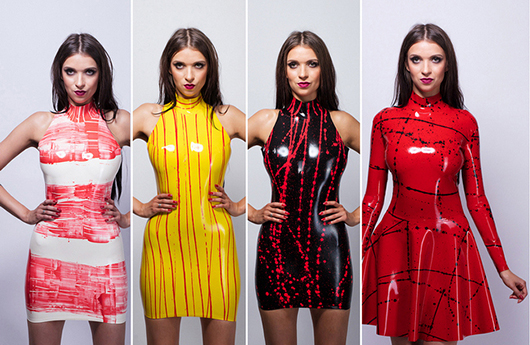 futurefetish latex - Four new latex dresses available in our shop. They are made of handmade multicolored latex.