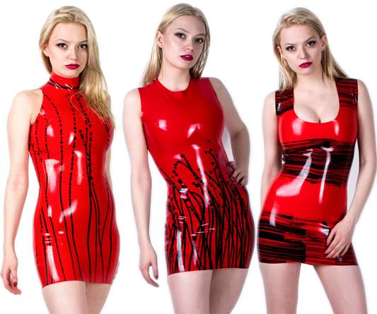 futurefetish latex - Three new latex dresses available in our shop. They are made of handmade multicolored latex.